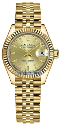 Rolex Lady Datejust 28mm Yellow Gold 279178 Champagne Index Jubilee