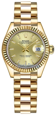 Rolex Lady Datejust 28mm Yellow Gold 279178 Champagne Index President