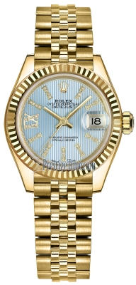 Rolex Lady Datejust 28mm Yellow Gold 279178 Cornflower Blue 44 Diamond Jubilee