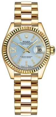 Rolex Lady Datejust 28mm Yellow Gold 279178 Cornflower Blue 44 Diamond President