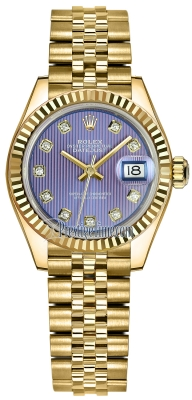 Rolex Lady Datejust 28mm Yellow Gold 279178 Lavender Diamond Jubilee