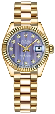 Rolex Lady Datejust 28mm Yellow Gold 279178 Lavender Diamond President