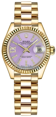 Rolex Lady Datejust 28mm Yellow Gold 279178 Lilac 44 Diamond President