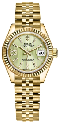 Rolex Lady Datejust 28mm Yellow Gold 279178 Linden Green 44 Diamond Jubilee