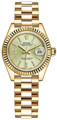 Rolex Lady Datejust 28mm Yellow Gold 279178 Linden Green 44 Diamond President