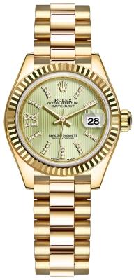 Rolex Lady Datejust 28mm Yellow Gold 279178 Linden Green 44 Diamond President