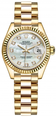 Rolex Lady Datejust 28mm Yellow Gold 279178 MOP Diamond President