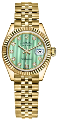 Rolex Lady Datejust 28mm Yellow Gold 279178 Mint Green Diamond Jubilee