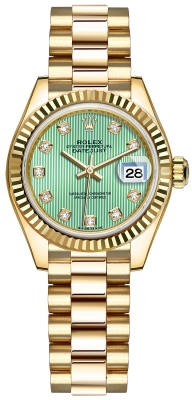 Rolex Lady Datejust 28mm Yellow Gold 279178 Mint Green Diamond President