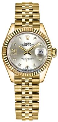 Rolex Lady Datejust 28mm Yellow Gold 279178 Silver 17 Diamond Jubilee
