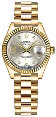 Rolex Lady Datejust 28mm Yellow Gold 279178 Silver 17 Diamond President