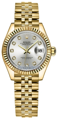 Rolex Lady Datejust 28mm Yellow Gold 279178 Silver Diamond Jubilee