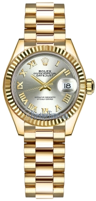 Rolex Lady Datejust 28mm Yellow Gold 279178 Silver Roman President