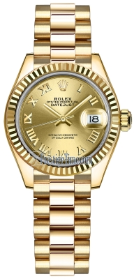 Rolex Lady Datejust 28mm Yellow Gold 279178 Champagne Roman President