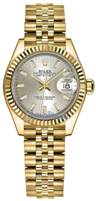 Rolex Lady Datejust 28mm Yellow Gold 279178 Silver Index Jubilee