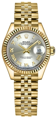 Rolex Lady Datejust 28mm Yellow Gold 279178 Silver Roman Jubilee