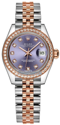 Rolex Lady Datejust 28mm Stainless Steel and Everose Gold 279381RBR Aubergine Diamond Jubilee