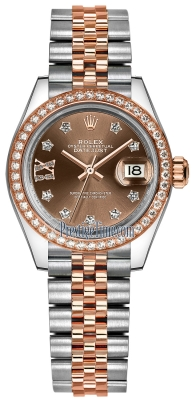 Rolex Lady Datejust 28mm Stainless Steel and Everose Gold 279381RBR Chocolate 17 Diamond Jubilee