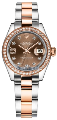 Rolex Lady Datejust 28mm Stainless Steel and Everose Gold 279381RBR Chocolate 17 Diamond Oyster