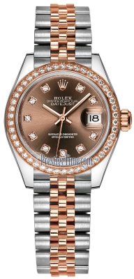 Rolex Lady Datejust 28mm Stainless Steel and Everose Gold 279381RBR Chocolate Diamond Jubilee