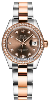 Rolex Lady Datejust 28mm Stainless Steel and Everose Gold 279381RBR Chocolate Diamond Oyster