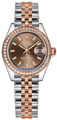 Rolex Lady Datejust 28mm Stainless Steel and Everose Gold 279381RBR Chocolate Index Jubilee
