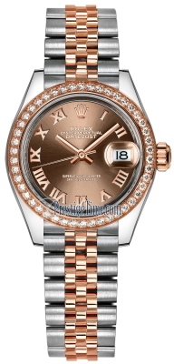 Rolex Lady Datejust 28mm Stainless Steel and Everose Gold 279381RBR Chocolate Roman Jubilee