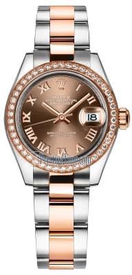 Rolex Lady Datejust 28mm Stainless Steel and Everose Gold 279381RBR Chocolate Roman Oyster