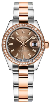 Rolex Lady Datejust 28mm Stainless Steel and Everose Gold 279381RBR Chocolate Index Oyster