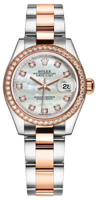 Rolex Lady Datejust 28mm Stainless Steel and Everose Gold 279381RBR MOP Diamond Oyster