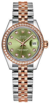 Rolex Lady Datejust 28mm Stainless Steel and Everose Gold 279381RBR Olive Green Diamond Jubilee