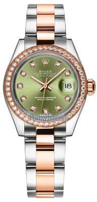 Rolex Lady Datejust 28mm Stainless Steel and Everose Gold 279381RBR Olive Green Diamond Oyster