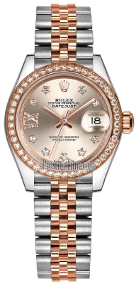 Rolex Lady Datejust 28mm Stainless Steel and Everose Gold 279381RBR Sundust 17 Diamond Jubilee