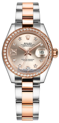 Rolex Lady Datejust 28mm Stainless Steel and Everose Gold 279381RBR Sundust 17 Diamond Oyster
