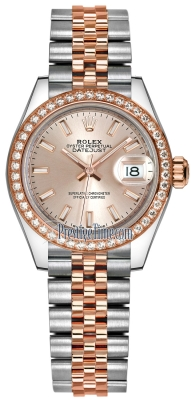 Rolex Lady Datejust 28mm Stainless Steel and Everose Gold 279381RBR Sundust Index Jubilee