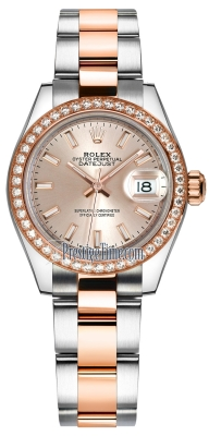 Rolex Lady Datejust 28mm Stainless Steel and Everose Gold 279381RBR Sundust Index Oyster