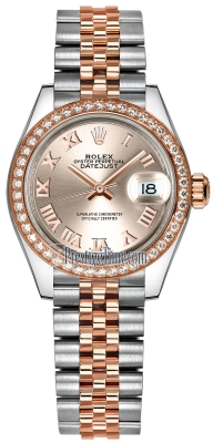 Rolex Lady Datejust 28mm Stainless Steel and Everose Gold 279381RBR Sundust Roman Jubilee