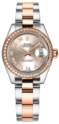 Rolex Lady Datejust 28mm Stainless Steel and Everose Gold 279381RBR Sundust Roman Oyster