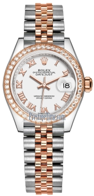 Rolex Lady Datejust 28mm Stainless Steel and Everose Gold 279381RBR White Roman Jubilee