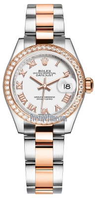 Rolex Lady Datejust 28mm Stainless Steel and Everose Gold 279381RBR White Roman Oyster