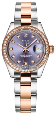 Rolex Lady Datejust 28mm Stainless Steel and Everose Gold 279381RBR Aubergine Diamond Oyster
