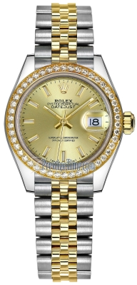 Rolex Lady Datejust 28mm Stainless Steel and Yellow Gold 279383RBR Champagne Index Jubilee