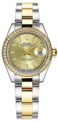 Rolex Lady Datejust 28mm Stainless Steel and Yellow Gold 279383RBR Champagne Index Oyster