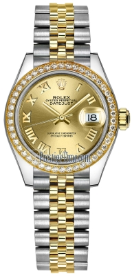 Rolex Lady Datejust 28mm Stainless Steel and Yellow Gold 279383RBR Champagne Roman Jubilee