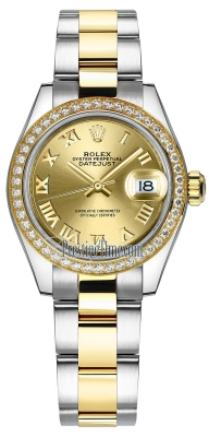 Rolex Lady Datejust 28mm Stainless Steel and Yellow Gold 279383RBR Champagne Roman Oyster