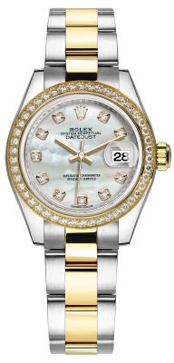Rolex Lady Datejust 28mm Stainless Steel and Yellow Gold 279383RBR MOP Diamond Oyster