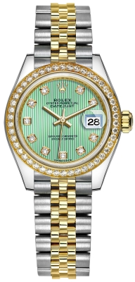 Rolex Lady Datejust 28mm Stainless Steel and Yellow Gold 279383RBR Mint Green Diamond Jubilee