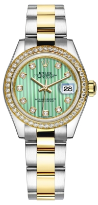 Rolex Lady Datejust 28mm Stainless Steel and Yellow Gold 279383RBR Mint Green Diamond Oyster