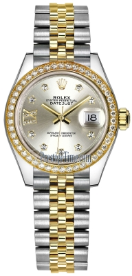 Rolex Lady Datejust 28mm Stainless Steel and Yellow Gold 279383RBR Silver 17 Diamond Jubilee