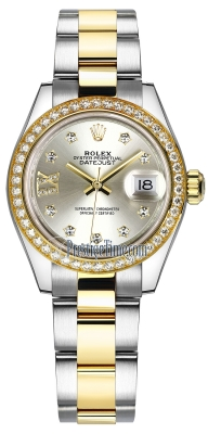 Rolex Lady Datejust 28mm Stainless Steel and Yellow Gold 279383RBR Silver 17 Diamond Oyster